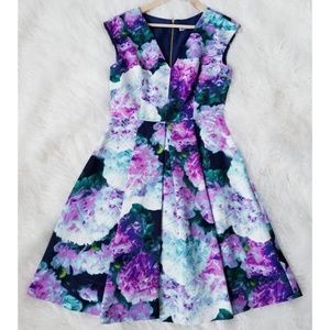Eliza J Floral Blossom Pleated A Line Dress